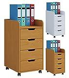 VCM Konal Rollcontainer, Holzoptik, Weiß, Einheitsgröße