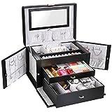 FEMOR Schmuckkastchen abschließbar Schmuckkoffer mit 3 Schubladen Kosmetikkoffer mit Innenspiegel(Schwarz)