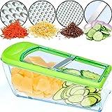Nurch Gemüsehobel Mandolinenschneider, Multifunktion Edelstahl Gurkenhobel, 4 in 1 Verstellbar Kartoffelreibe Küchenreibe Gemüsereibe und Spülmaschinenfest