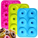 Silikon-Donut-Backformen, 3 Stück, antihaftbeschichtet, runde und Blumen-Donut-Formen, langlebiges Küchenzubehör für Kuchen, Kekse, Bagels, Muffins (6 Hohlräume)