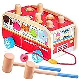 Vanplay Klopfbank Holz Hammerspiel für Kinder ab 2 Jahre, 3 in 1 Ziehen Entlang Bus Spielzeug Hämmerchenspiel Holzspielzeug für Mädchen Junge