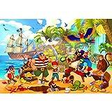 GREAT ART Fototapete Kinderzimmer – Piraten – Wandbild Dekoration Piratenschiff Abenteuer Schatzsuche Kinder Jungen Mädchen Illustration Comic Wandtapete (210x140 cm - 5 Teile)