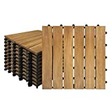 Froadp 22 Stück Akazien-Holz Fliesen Wasserfilterbar Terrassen- & Balkonfliesen Zusammenbaubar Holzfliesen Garten Klickfliese Gesamt ca. 1m²(30x30cm, Type A)