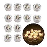 12stk Flammenlose LED Teelicht Kerzen Batteriebetriebene Unterwasser Licht für Hochzeit/Geburtstagsfeier/Festivalfeier/Vase/Badewanne/Aquarium Warmes Weiß