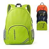 ASPEN Aspensport Leichter Faltbarer Rucksack Packable kleine Reise Wandern Daypack mit USB-Anschluss für Männer & Frauen 18 L Handliche Camping Outdoor Tasche, Lime, Small