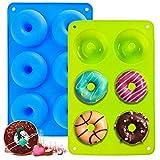 2 Stück Silikon Donut Formen, 6 Hohlraum A ntihaft-Safe Silikon Donut Backform Hitzebeständigkeit Backblech Gelten -40 bis 230 Grad gut zum Machen Kekse, Bagels, Muffins.