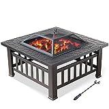 Zhuowei Multifunktional Feuerschale Feuerstelle Pit Grillstelle Feuerkorb mit Grillrost Funkenschutz Lagerfeuer,2