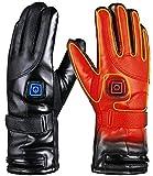 Beheizte Handschuhe für Herren Damen, 4000mAh Beheizte Lederhandschuhe Wiederaufladbare Lithium-Ionen-Batterie Beheizbare Handschuhe Fahrrad Motorrad Winterhandschuhe Ski-Handschuhe