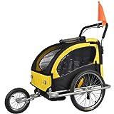 Tiggo Kinderfahrradanhänger Fahrradanhänger Jogger 2in1 Anhänger Kinderanhänger JBT03A-D03 gelb
