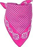 styleBREAKER Damen Dreieckstuch Baumwolle mit Blümchen Muster, Multifunktion Tuch, Halstuch, Kopftuch, Bandana 01016201, Farbe:Pink-Weiß