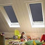 KINLO Dachfensterrollo 48 x 93cm Dunkelgrau Thermo Sonnenschutz Verdunkelungsrollo für Velux Dachfenster UV Schutz mit Saugnäpfe ohne Bohren