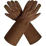 Gartenhandschuhe aus atmungsaktivem Ziegenleder mit extra langen Stulpen aus Rindsleder, idealer Dornenschutz für den Rosenschnitt, Unisex
