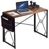 VECELO Klapptisch Computertisch Bürotisch Klappbarer PC-Tisch mit Aufbewahrungstasche Home-Office-Laptop-Tisch, Studiertisch, Braun