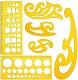 KINDPMA 6 Stück Zeichenschablone Kurvenlineal Nähen Kreisschablone Geometrie Set Französisch Curve Lineal Kurvenschablone Technisches Zeichnen Vorlage für Architektur Kunst Studio Büro Schule