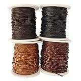 Sharplace 4 Rollen Gewachste Baumwollschnur Wachsband Baumwollkordel 80M 1MM für Schmuckherstellung - Farbe 1