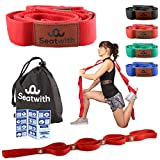 Seatwith Gymnastik-Gurt mit 10 Schlaufen | Yoga-Gurt 200 x 4 cm | Stretch-Strap für mehr Beweglichkeit | Gratis Transportbeutel & Traininsanleitung| Fitness Pilates Physiotherapie Stretch-Gurt (ROT)