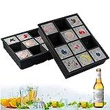 Eiswürfelform XXL Silikon, 2 Stück Eiswürfelschalen 12 Fach Silikon Eiswürfelbehälter LFGB Zertifiziert BPA Frei 5cm Eiswürfel Form für Bier, Whisky, Pudding oder Babynahrung (Schwarz)…