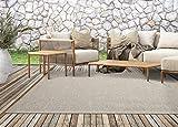 Calgary In- & Outdoor Teppich Flachgewebe, Modernes Design, Trendige Farben, Superflach, UV- und Witterungsbeständig, Beige-Grau, 160 x 220 cm