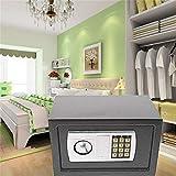 Elektronischer Safe 31x20x20cm LED Doppelbolzenverriegelung Tresor Elektronik Zahlenschloss Tragbar Möbeltresor Tresor Feuerfest Wasserdicht Wandtresor Grau