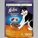 FELIX Crunchy & Soft Katzenfutter trocken, mit Huhn und Truthahn, 4er Pack (4 x 950g)