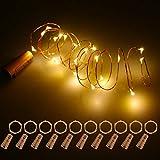 Fulighture LED Flaschen-Licht, 20 LEDs 2M Lichterkette Kupferdraht batteriebetriebene Weinflasche Lichter mit Kork Schnurlicht für DIY Deko Weihnachten Party Urlaub Stimmungslichter,Warmweiß,10 Stück