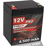 kraftmax Industrial Pro Bleiakku [ 12V / 4,5Ah ] AGM Hochleistungs- Blei Akku der Neusten Generation