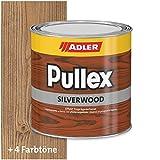 ADLER Pullex Silverwood - Effekt Imprägnierlasur & Holz Grundierung - Farbige Holzlasur Außen als effektiver Wetterschutz mit speziellen Metalleffektcharakter - Holzschutzlasur Farbe: Altgrau 750 ml