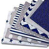 Amazinggirl Baumwollstoff meterware Stoffpaket 7 Stück je 50x80cm - Stoffe zum Nähen Patchwork Stoff Paket Stoffreste nähstoffe Baumwolle Öko-Tex weiß-grau-blau