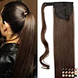 Pferdeschwanz Extensions Ponytail Haarteil Clip in Extensions wie Echthaar Zopf Glatt Kunsthaare günstig Haarverlängerung 26'(66cm)-135g Mittelbraun