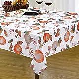 Alishomtll Tischdecke Herbst Tischtuch 140x140 Quadratisch Tafeldecke Outdoor Wasserabweisend Abwaschbar für Garten Zimmer (Polyester, Kürbis)