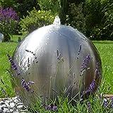 CLGarden 48cm großer Edelstahl Kugel Springbrunnen ESB5 gebürstet Kugelbrunnen mit LED Beleuchtung