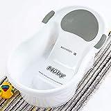 Nuby Baby-Badewanne mit integriertem Sitz und weicher Kopfstütze, Weiß/Grau