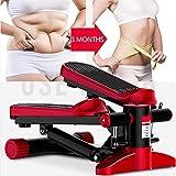 LJYLF Mini Fitness Hydraulisch Up-Down Stepper, Männer und Frauen Stepper Cardio Übung Trainer, Widerstand Bands Stepper Übungen Ausrüstung,Rot