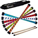 Flames 'N Games Twist Devil Stick-Set (2-farbiges Deko) Holzstäbe + Reisetasche Jonglierteufel Sticks 4 Anfänger & Profis (weiß/blau)