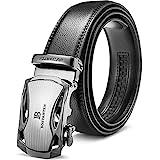 BOSTANTEN Ledergürtel Herren/Junge Schnalle Büffel Leder Gürtel Automatik Jeans Belt Schwarz, Länge 125CM.Geeignet für 38-41 Taille., 1-schwarz