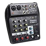 SYNCO Mischpult, Audiomixer 4-Kanal DJ Mixer, Audiomischer Bluetooth/USB, 2 Mono 1 Stereo Eingang, 48V-Phantomspeisung, Audio-Interface Sound Mixer Kompakt Tragbar für Karaoke Heim-KTV, Studiomusik