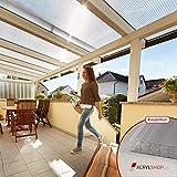 ACRYLSHOP24 Terrassendach Terrassenüberdachung Carport Komplettset Polycarbonat 16mm X-Struktur Stegplatten farblos 16mm Stegplatten Tiefe:2500mm Breite:2070mm - Mehrere Maße verfügbar