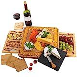 Käsebrett aus Bambus, Schieferplatten, Käseplatte enthält Untersetzer – 2 versteckter Schubladen mit 4 Käsemesser Set - Perfektes Geschenk - Von PlaNet