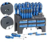 AGT Schraubenzieher Set: 101-teiliges Schraubendreher- und Bit-Set mit Wandhalterung (Schraubenzieher Bit Set)