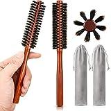 2 Stücke Kleine Runde Haarbürste Mini Borsten Bart Bürste für Männer Frauen mit 2 Stücke Kordelzug Beutel für Dünnes oder Kurzes Haar