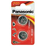 Panasonic CR2025 Lithium Knopfzelle, 3V, 2er Pack