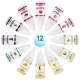 Funxim Seifenduftöl, 12 flüssige Fruchtdüfte für DIY Schleim, Kosmetik und Badebombe, 10 ml pro Flasche(Obst)