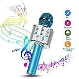 Karaoke Mikrofon, Drahtlose Bluetooth Mikrofon Tragbares Handmikrofon mit Lautsprecher und Aufnahme, Drahtlose Mikrofon Player für Erwachsene und Kinder, Kompatibel mit Android/IOS (Blau) (Blau)