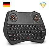 Rii K28C Mini Tastatur Wireless, Mini Tastatur Kabellos mit Touchpad, Mini Tastatur Beleuchtet für Smart TV Fernbedienung, HTPC, IPTV, Android TV-Box, X Box 360, PS3, PC. [Deutsches Layout]