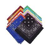 Bandana Kopftuch ,12 Stück Paisley Halstuch Kopf Square Schal Multifunktionsfarbenes Fahrrad-Stirnband Halstuch Taschentuch für Männer Frauen Hip-Hop Sporting (12 Farben)
