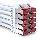 deleyCON 10x 0,5m CAT6 Patchkabel S/FTP PIMF Schirmung CAT-6 RJ45 Netzwerkkabel Ethernetkabel LAN DSL Switch Router Modem Access Point Patchfelder - Weiß