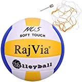 Rajvia Beachvolleyball Soft Touch Volleyball offizieller Größe 5, Volley Ball für Outdoor/Indoor-Spiel mit Ventilnadeln & Ballnetz (Blau)