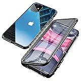 Jonwelsy Hülle für iPhone 11 (6,1 Zoll), Magnetische Adsorption Metall Stoßstange Flip Cover mit 360 Grad Schutz Doppelte Seiten Transparent Gehärtetes Glas Handyhülle für iPhone 11 (Schwarz)