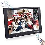 Powerextra 10 Zoll Digitaler bilderrahmen mit bewegungssensor 1280x800 hochauflösendes 16: 9 HD IPS Display für Foto & Musik & Videoplayer & Kalender & Alarm & Auto on/Off Timer