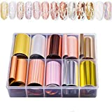 EBANKU 10 Rolls Transferfolie Nailart, Transferfolie Nägel Nagelfolie Aufkleber, Nailart Folie Transfer Nail Art Fittings Nagel Sticker Nagelfolien Set Glänzende Deko DIY Nagelschmuck
